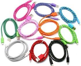 USB кабель Pro Legend micro USB, текстиль, фиолетовый, 1м (PL1386)