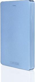 """Фото 1/2 HDTH310EL3AA, Внешний жесткий диск TOSHIBA HDTH310EL3AA Canvio Alu 1ТБ 2.5"""" USB 3.0 Blue"""
