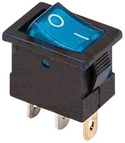 Фото 1/2 36-2171, Выключатель клавишный 12V 15А (3с) ON-OFF синий с подсветкой Mini (RWB-206-1, SC-768)