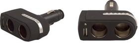 """C-01, Разветвитель электропитания от прикуривателя """"INTEGO"""" на 2 гнезда, 1 USB-порт, черный /25"""