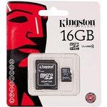 SDC4/16GB, Карта памяти microSDHC 16Гб Class 4, переходник SD