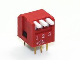 SWD3- 3 (DP-03L), DIP переключатель 3pin угловой красный с выступающим движком