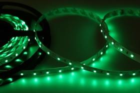 Фото 1/3 141-334, LED лента открытая, 8мм, IP23, SMD 3528, 60 LED/m, 12V, зеленая