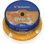 Оптический диск DVD-R VERBATIM 4.7Гб 16x, 25шт., cake box [43522]
