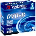 Фото 2/2 Оптический диск DVD+R VERBATIM 4.7Гб 16x, 5шт., slim case, разноцветные [43556]