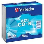 Оптический диск CD-R VERBATIM 700Мб 52x, 10шт., slim case [43342]