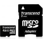 Карта памяти microSDHC TRANSCEND 4 ГБ, Class 4, TS4GUSDHC4 ...