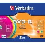 Фото 2/2 Оптический диск DVD-R VERBATIM 4.7Гб 16x, 5шт., slim case, разноцветные [43557]