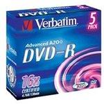 Фото 3/3 Оптический диск DVD-R VERBATIM 4.7Гб 16x, 5шт., jewel case [43519]