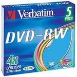 Фото 2/2 Оптический диск DVD-RW VERBATIM 4.7Гб 4x, 5шт., slim case, разноцветные [43563]