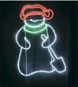 """501-322, Фигура светодиодная """"Снеговик с лопатой"""", размер 94*63 см"""
