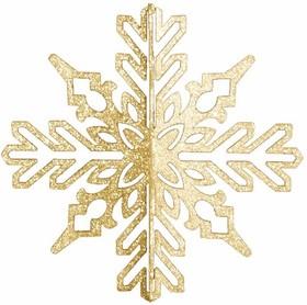 """502-331, Елочная фигура """"Снежинка ажурная 3D"""", 23 см, цвет золотой"""