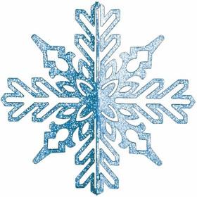 """502-333, Елочная фигура """"Снежинка ажурная 3D"""", 23 см, цвет синий"""