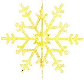 """502-341, Елочная фигура """"Снежинка резная 3D"""", 31 см, цвет золотой"""