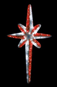 """506-241, Фигура """"Звезда 8-ми конечная"""", LED подсветка высота 120см, красно-белая"""