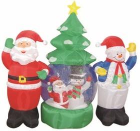 """511-053, 3D фигура надувная """"Дед Мороз и Снеговик"""", диаметр шара 120 см, общий размер 210 см, с подсветкой, к"""