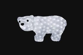 """Фото 1/2 513-252, Акриловая светодиодная фигура """"Белый мишка"""" 15х25 см, 4,5 В, 3 батарейки AA (не входят в комплект),"""