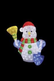 """513-277, Акриловая светодиодная фигура """"Снеговик с метлой и лопатой"""" 60 см, 260 светодиодов, IP 44, понижающи"""
