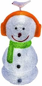 """513-331, Акриловая светодиодная фигура """"Снеговик в наушниках"""" 27х27х60 см,16 светодиодов, IP 44, понижающий т"""
