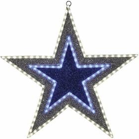 """514-015, Фигура """"Звезда"""" бархатная, с постоянным свечением, размеры 61 см (81 светодиод зеленого+белого+голуб"""
