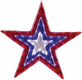 """514-022, Фигура """"Звезда"""" бархатная, размеры 91 см (129 светодиод красный+голубой+белый цвета)"""