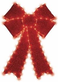 """514-031, Фигура """"Бантик"""" бархатная, с постоянным свечением, размеры 75*65 см (182 КРАСНЫХ светодиода)"""