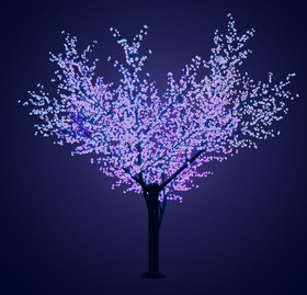 """Фото 1/2 531-213, Светодиодное дерево """"Сакура"""", высота 3,6м, диаметр кроны 3,0, синие светодиоды, IP 64, понижающий тр"""
