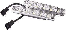 Фото 1/2 80-1125, Дневные ходовые огни в алюминиевом корпусе с верхним креплением 10 диодов, с встроенным стабилизат