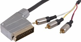 Фото 1/2 17-1334, Шнур SCART Plug - 3RCA Plug с переключателем 3М (GOLD) металл