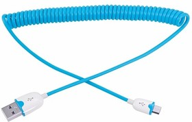 18-4302, USB кабель универсальный microUSB шнур витой 1,5 м синий