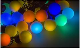 Фото 1/2 Гирлянда Мультишарики d=38 мм 10м черный ПВХ, 40 LED RGB 303-579