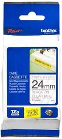 Фото 1/2 TZES151, Лента Brother для печати наклеек TZe-S151 24-мм плотная клейкая ламинированная (черный на прозрачном