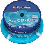 Оптический диск CD-R VERBATIM 700Мб 52x, 25шт., cake box [43352]