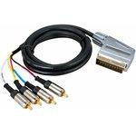 Фото 2/2 17-1422, Шнур SCART Plug - 4RCA Plug 1.5М (GOLD) металл