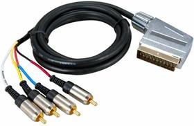 Фото 1/2 17-1424, Шнур SCART Plug - 4RCA Plug 3М (GOLD) металл