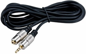 Фото 1/2 17-4026, Шнур 3.5 Stereo Plug - 3.5 Stereo Jack 5М (GOLD) - металл