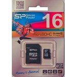 SP016GBSTH010V10-SP, Карта памяти Micro SD 16ГБ, переходник SDHC, Class 10.