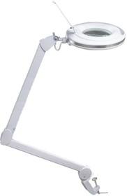 31-0531, Лупа на струбцине круглая 3X с подстветкой и сенсорным регулятором 60 LED (светодиодная), белая