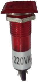 N-XD10-2-R, Лампа неоновая с держателем красная 220VAC