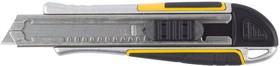 """09146, Нож STAYER """"PROFI"""" обрезиненная рукоятка Super Grip,метал. корпус,автостоп, допфиксатор,кассета на 6"""