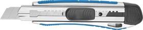 """09176, Нож ЗУБР """"ЭКСПЕРТ"""" с сегментированным лезвием, метал обрезин корпус, автостоп, допфиксатор, кассета"""