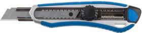 """09178, Нож ЗУБР""""ЭКСПЕРТ"""", двухкомпонентный корпус, с механическим фиксатором, с сегментированным лезвием 18"""