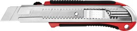 09185, Нож URAGAN с выдвижным сегментированным лезвием, металлический обрезиненный корпус, автостоп, сталь