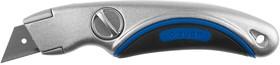 """09221, Нож ЗУБР """"ЭКСПЕРТ"""" универсальный, метал обрезиненный корпус, фиксированное трапециевид лезвие,тип""""А2"""