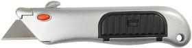"""Фото 1/2 09233, Нож STAYER """"PROFI"""" металлический корпус, с выдвижным трапециевидным лезвием, 5 запасных лезвий"""
