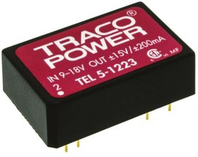 TEL 5-1223, Module DC-DC 12VIN 2-OUT 15V/-15V 0.2A/-0.2A 5W 8-Pin DIP Module