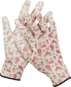 11291-S, Перчатки GRINDA садовые, прозрачное PU покрытие, 13 класс вязки, бело-розовые, размер S