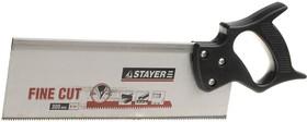 1536-30, Ножовка для стусла c обушком (пила) STAYER 300 мм, 8 TPI, прямой закаленный зуб, точный рез.