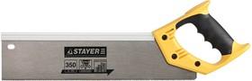 15365-35, Ножовка для стусла c усиленным обушком (пила) STAYER 350 мм, 12 TPI, прямой зуб, для точного реза