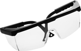 2-110451, Очки STAYER защитные с регулируемыми по длине дужками, поликарбонатные прозрачные линзы с оправой